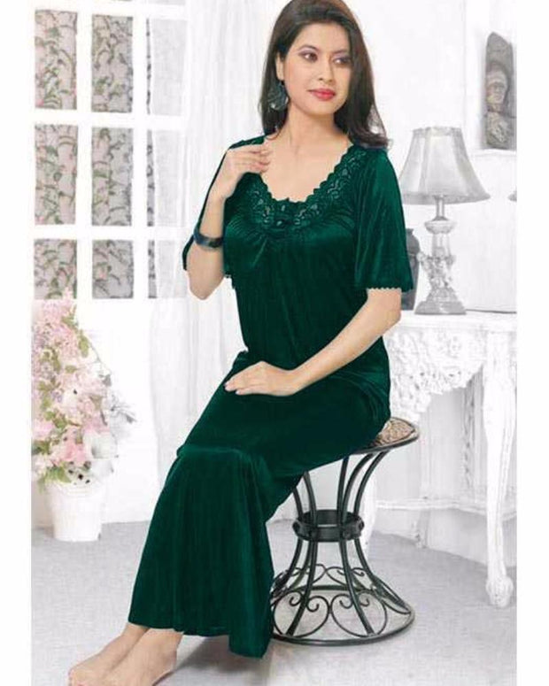Green - FL-512 - Flourish Nightwear - Nighty - diKHAWA Online Shopping in Pakistan