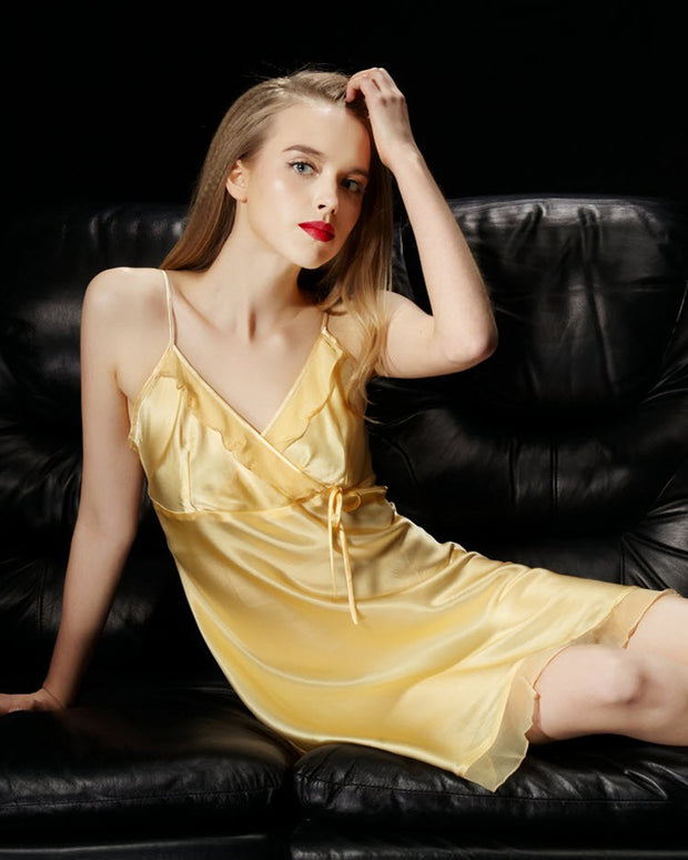 Golden - Solid Satin Chemise With Chiffon – CHE10-GD