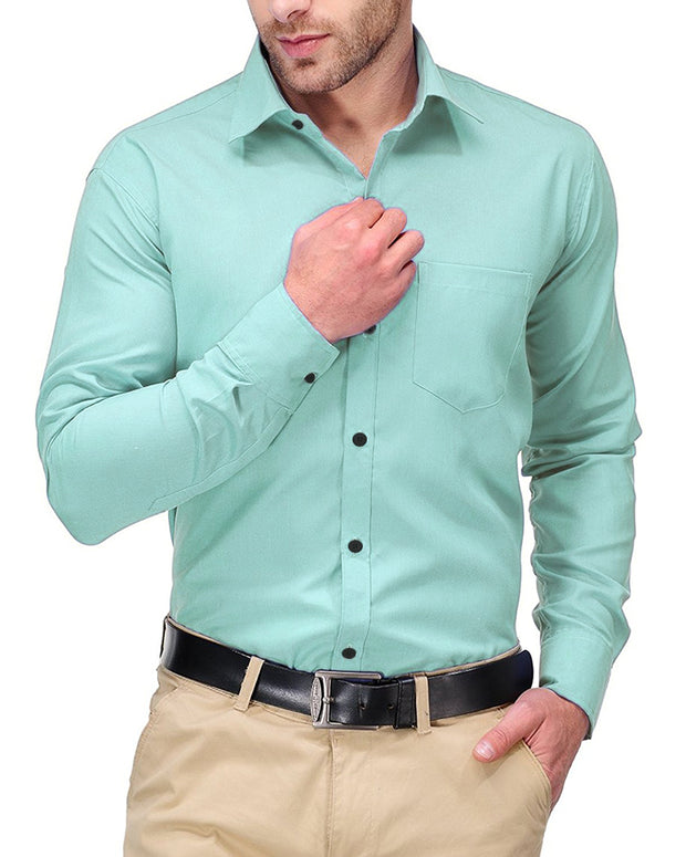 Mens Shirts Plain Green - Casual Shirts By Tommy Hilfiger