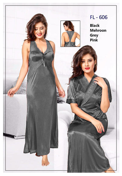 2 Pcs FL-606 - Grey Flourish Exclusive Bridal Nighty Set Collection