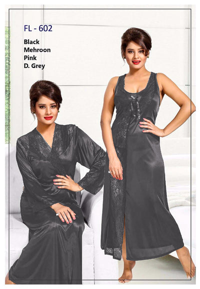 2 Pcs FL-602 - Grey Flourish Exclusive Bridal Nighty Set Collection