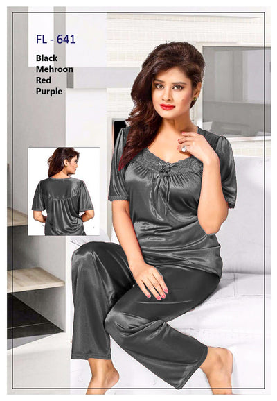 2 Pcs FL-641 - Grey Flourish Exclusive Bridal Nighty Set Collection