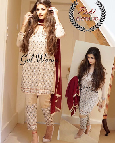 Gul Warun Zari Embroided Chiffon With Heavy Handwork (Replica)(Unstitched)