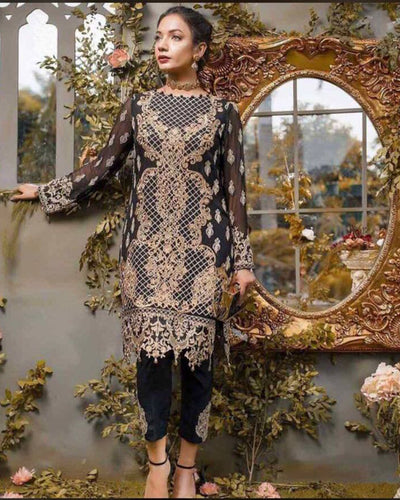 Gulaal Partywear Chiffon Suit Full Heavy Embroidered Master Replica Same As Original (Replica)(Unstitched)