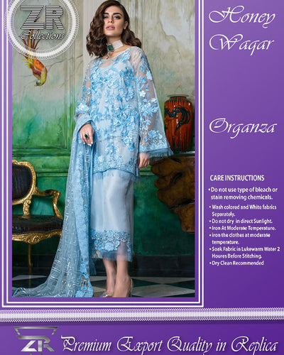 HONEY WAQAR ORGANZA TISSUE COLLECTION (Replica)(Unstitched)