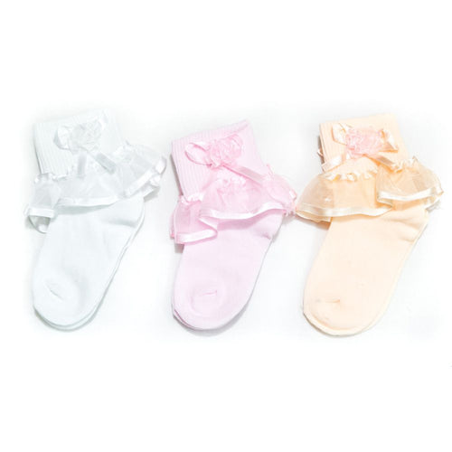 Kids Frill Socks – 1 to 3 Years Kids – KL-32 – Pack Of 3 - Kids Socks - diKHAWA Online Shopping in Pakistan