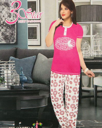 Ladies Nightdress & Pajama Sets with T-shirt by 3 Star - PInk & White