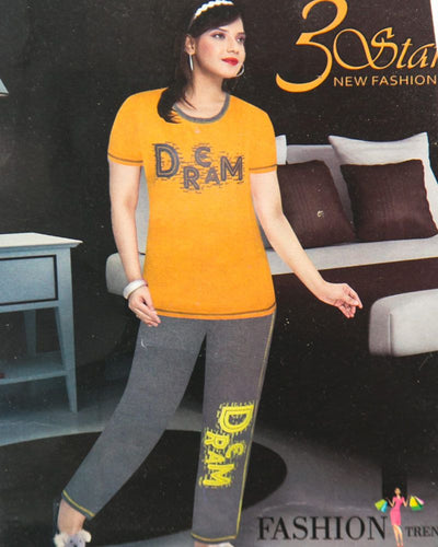 Ladies Nightdress & Pajama Sets with T-shirt by 3 Star - Yellow & Grey