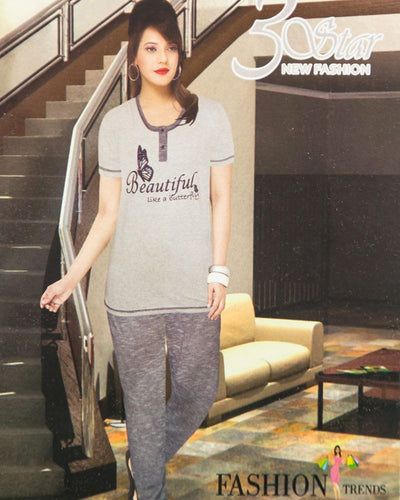 Ladies Nightdress & Pajama Sets with T-shirt by 3 Star - Grey & Blue