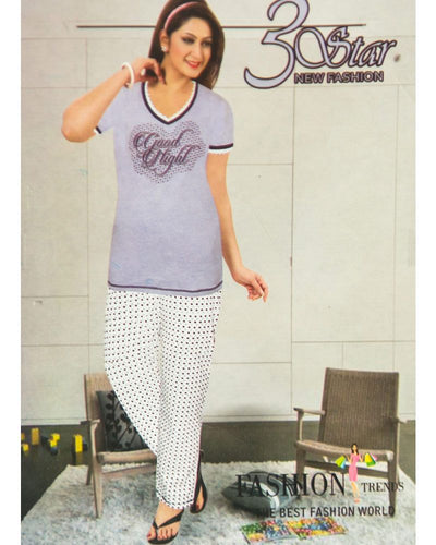 Ladies Nightdress & Pajama Sets with T-shirt by 3 Star - Blue & White