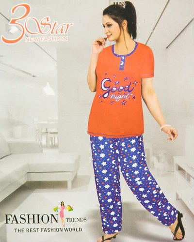Ladies Nightdress & Pajama Sets with T-shirt by 3 Star - Orange & Blue