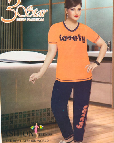 Ladies Nightdress & Pajama Sets with T-shirt by 3 Star - Orange & Navy Blue