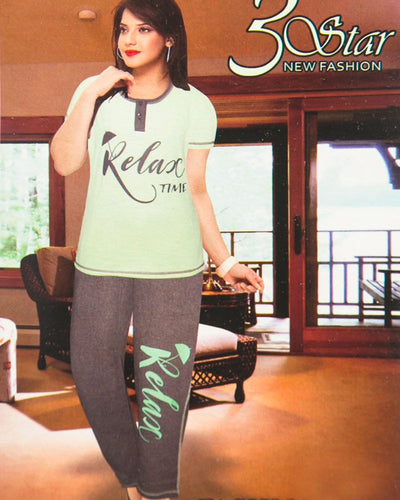 Ladies Nightdress & Pajama Sets with T-shirt by 3 Star - Green & Grey