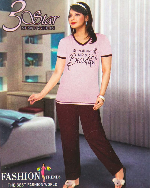 Ladies Nightdress & Pajama Sets with T-shirt by 3 Star - Purple