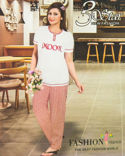 Ladies Nightdress & Pajama Sets with T-shirt by 3 Star - White & Red