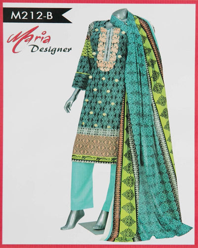 Maria Designer Lawn Maria Monsoon Embroidered Lawn Suits - 3 Piece Suits - M212-B (Replica)(Unstitched)
