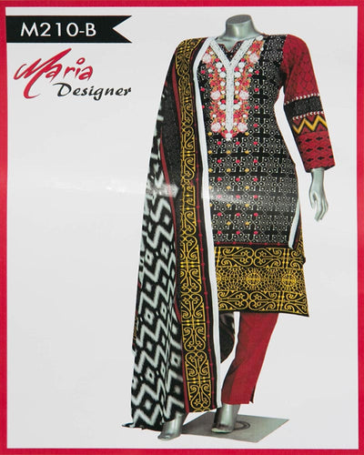 Maria Designer Lawn Maria Monsoon Embroidered Lawn Suits - 3 Piece Suits - M210-B (Replica)(Unstitched)