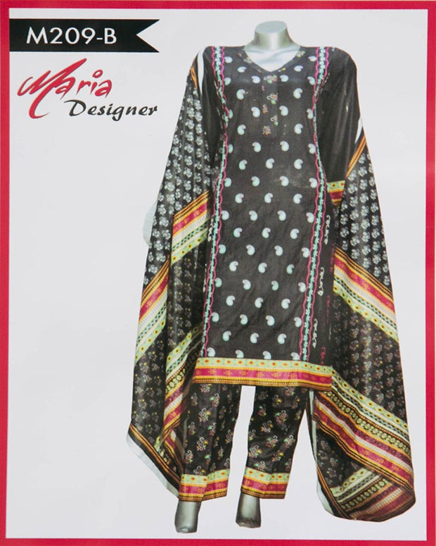 Maria Designer Lawn Maria Monsoon Embroidered Lawn Suits - 3 Piece Suits - M209-B (Replica)(Unstitched)