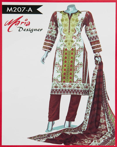 Maria Designer Lawn Maria Monsoon Embroidered Lawn Suits - 3 Piece Suits - M207-A (Replica)(Unstitched)
