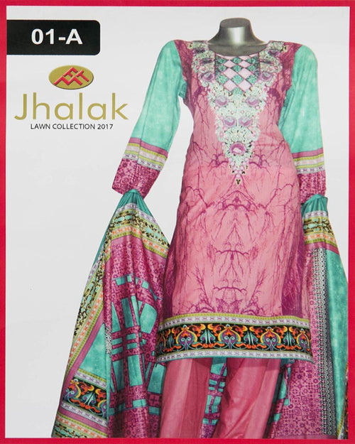 Jhalak Lawn Maria Monsoon Embroidered Lawn Suits By Five Star - 3 Piece Suits - 01-A (Original)(Unstitched)