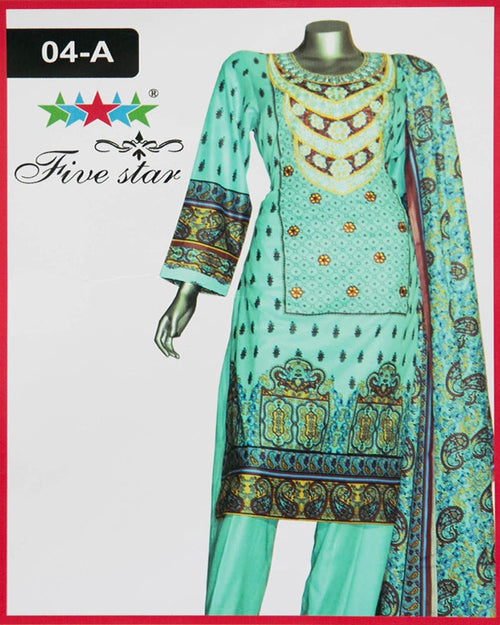 Maria Monsoon Embroidered Lawn Suits By Five Star - 3 Piece Suits - 04-A (Original)(Unstitched)