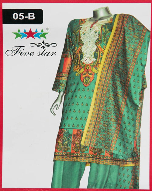Maria Monsoon Embroidered Lawn Suits By Five Star - 3 Piece Suits - 05-B (Original)(Unstitched)