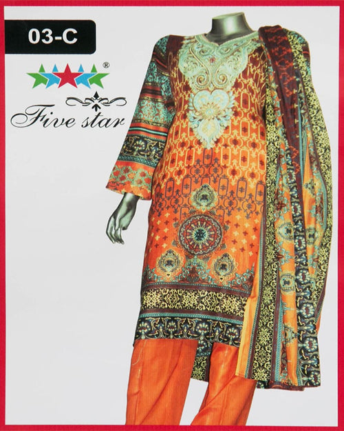 Maria Monsoon Embroidered Lawn Suits By Five Star - 3 Piece Suits - 03-C (Original)(Unstitched)