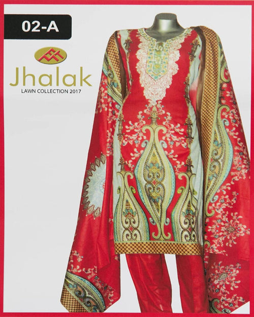 Jhalak Lawn Maria Monsoon Embroidered Lawn Suits By Five Star - 3 Piece Suits - 02-A (Original)(Unstitched)