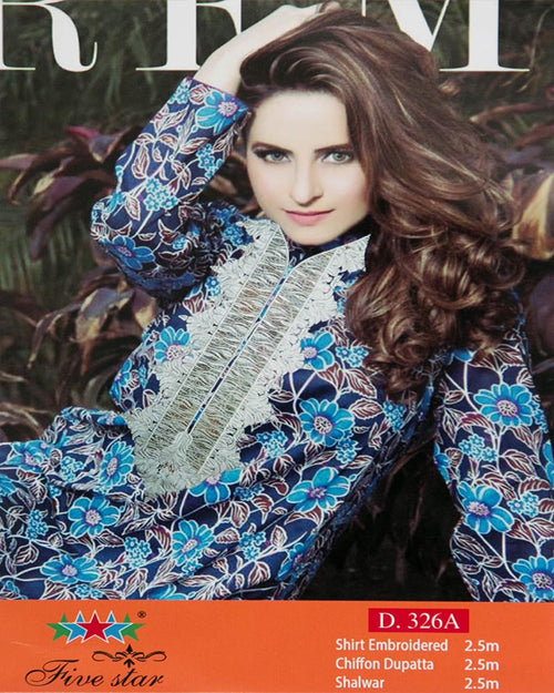 Premium Embroidered Lawn Suits With Chiffon Dupatta By Five Star - 3 Piece Suits - D-326A (Original)(Unstitched)