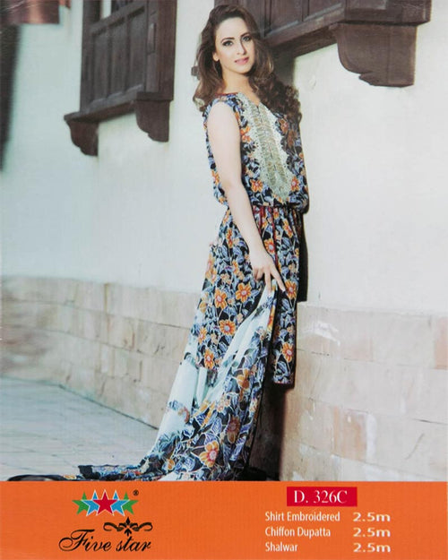 Premium Embroidered Lawn Suits With Chiffon Dupatta By Five Star - 3 Piece Suits - D-326C (Original)(Unstitched)