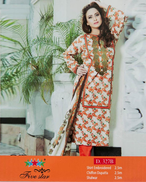 Premium Embroidered Lawn Suits With Chiffon Dupatta By Five Star - 3 Piece Suits - D-327B (Original)(Unstitched)