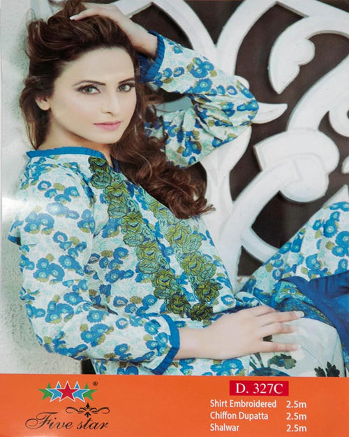 Premium Embroidered Lawn Suits With Chiffon Dupatta By Five Star - 3 Piece Suits - D-327C (Original)(Unstitched)