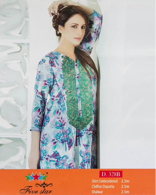 Premium Embroidered Lawn Suits With Chiffon Dupatta By Five Star - 3 Piece Suits - D-328B (Original)(Unstitched)