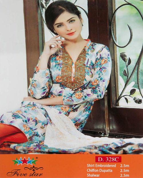 Premium Embroidered Lawn Suits With Chiffon Dupatta By Five Star - 3 Piece Suits - D-328C (Original)(Unstitched)