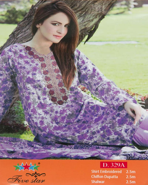 Premium Embroidered Lawn Suits With Chiffon Dupatta By Five Star - 3 Piece Suits - D-329A (Original)(Unstitched)