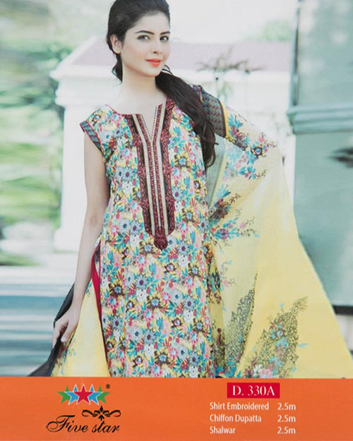 Premium Embroidered Lawn Suits With Chiffon Dupatta By Five Star - 3 Piece Suits - D-330A (Original)(Unstitched)