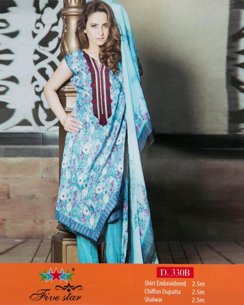 Buy Premium Embroidered Lawn Suits With Chiffon Dupatta By Five Star - 3 Piece Suits - D-330B (Original)(Unstitched) Online in Karachi, Lahore, Islamabad, Pakistan, Rs.{{amount_no_decimals}}, Ladies Lawn Suits Online Shopping in Pakistan, Premium Chiffon Embroidered Lawn, 3PC Unstitched Suits, Brand = Five Star, cf-size-unstitched, cf-type-ladies-lawn-suits, Clothing, Collection = Premium Chiffon Embroidered Lawn, Color = Sky Blue, Dupatta = Chiffon Dupatta, Lawn Suits, Material = Lawn, Original Lawn Suits, Original Suits, Printed Lawn Suits, Printed Suits, Shirt Front = Neck Embroidered Lawn, Size = Unstitched, Style = Embroidered & Printed, Unstitched Suits, Women, Womens Pakistani Clothing, Online Shopping in Pakistan - diKHAWA Fashion