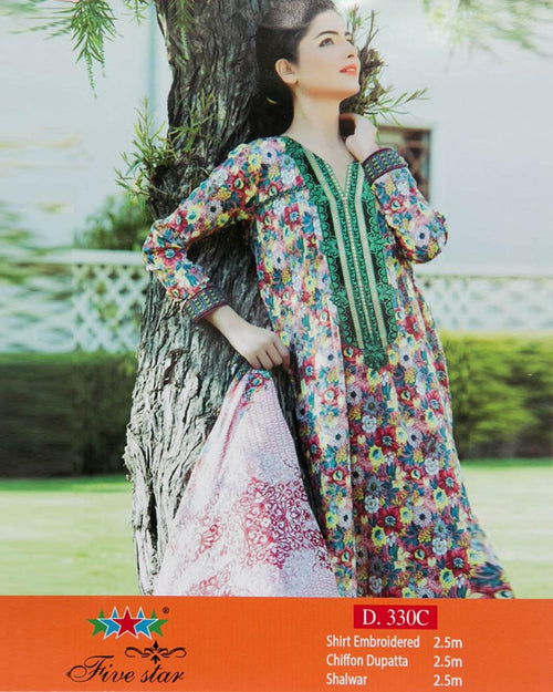 Premium Embroidered Lawn Suits With Chiffon Dupatta By Five Star - 3 Piece Suits - D-330C (Original)(Unstitched)