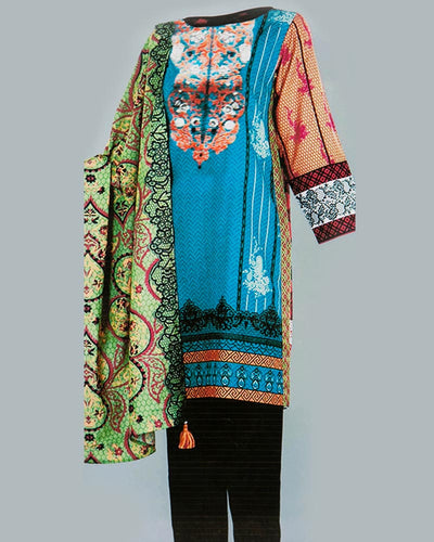 Tarzz Embroidered Lawn Suits With Chiffon Dupatta By Ideal - 3 Piece Suits - IDL-011 (Replica)(Unstitched)