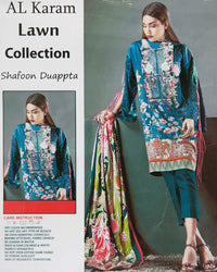 Al Karam Embroidered Lawn Suits With Chiffon Dupatta By Ideal - 3 Piece Suits - IDL-003 (Replica)(Unstitched)