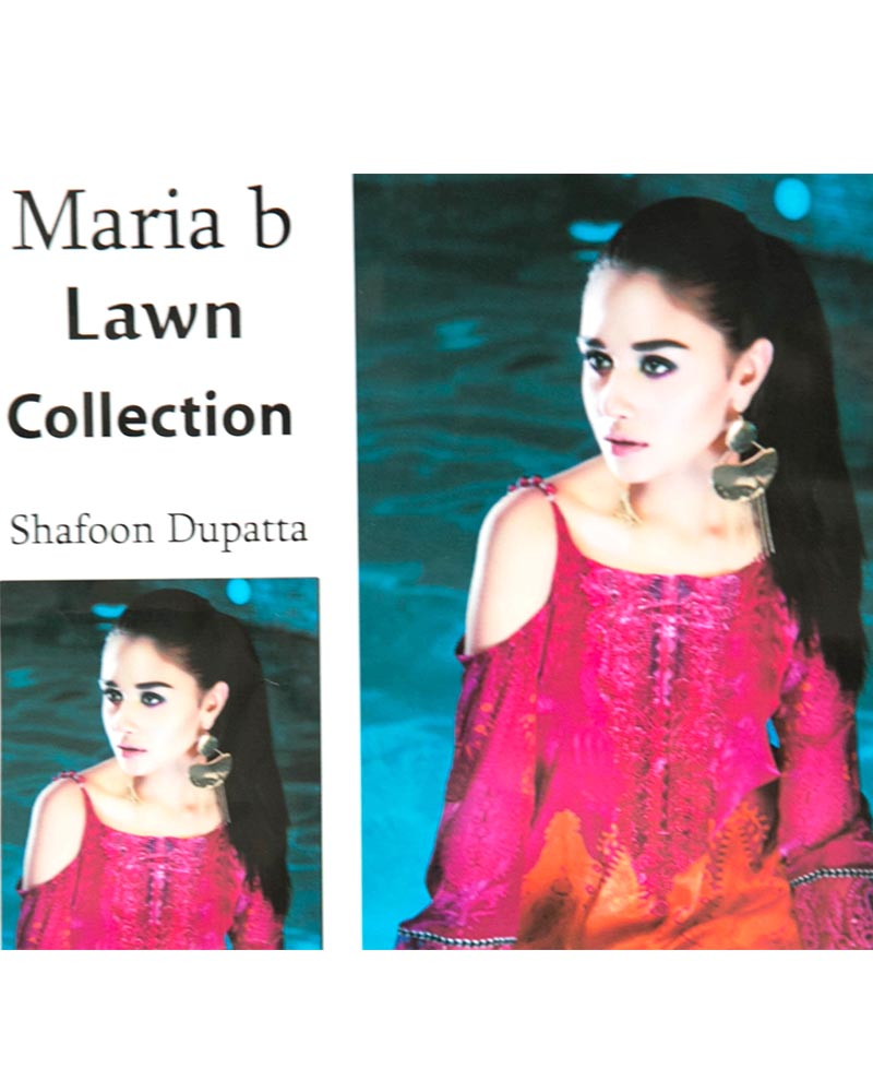Maria.B Embroidered Lawn Suits With Chiffon Dupatta By Ideal - 3 Piece Suits - IDL-013 (Replica)(Unstitched)