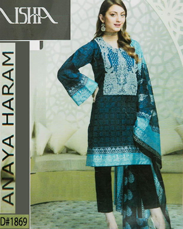 Nisha Embroidered Lawn Suits With Chiffon Dupatta By Anaya Haram Vol-1 - 3 Piece Suits - D-1869 (Replica)(Unstitched)