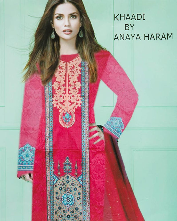 Khaadi Embroidered Lawn Suits With Chiffon Dupatta By Anaya Haram Vol-1 - 3 Piece Suits - AH004 (Replica)(Unstitched)