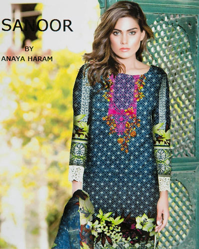 Sanoor Embroidered Lawn Suits With Chiffon Dupatta By Anaya Haram Vol-3 - 3 Piece Suits - AH007 (Replica)(Unstitched)