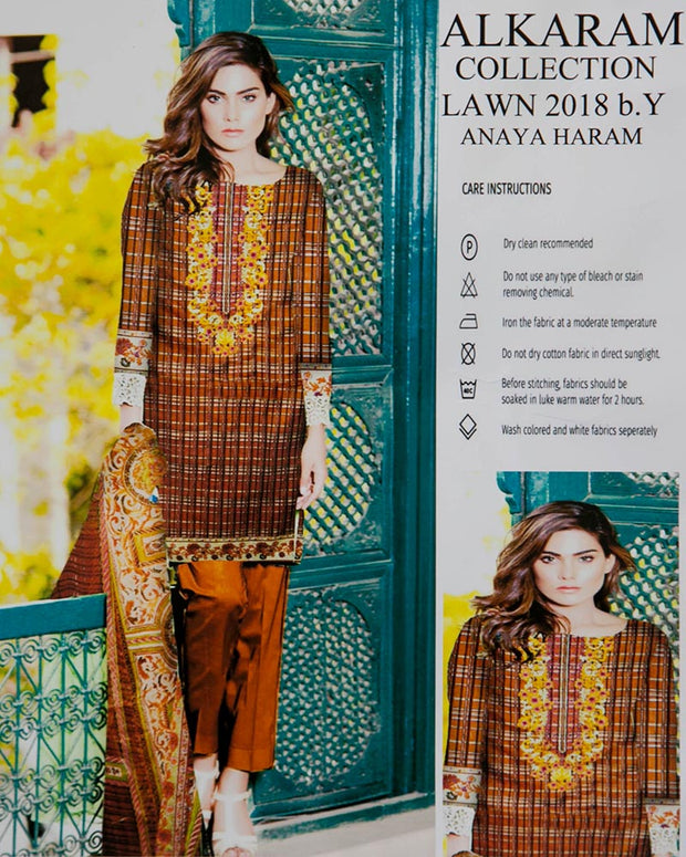 Al Karam Embroidered Lawn Suits With Chiffon Dupatta By Anaya Haram Vol-3 - 3 Piece Suits - AH009 (Replica)(Unstitched)