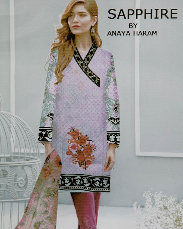 Sapphire Embroidered Lawn Suits With Chiffon Dupatta By Anaya Haram Vol-3 - 3 Piece Suits - AH012 (Replica)(Unstitched)