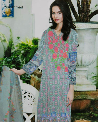 Gul Ahmed Embroidered Lawn Suits With Net Dupatta By Anaya Haram Vol-4 - 3 Piece Suits - AH014 (Replica)(Unstitched)