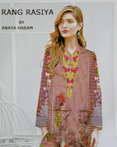 Rang Rasiya Embroidered Lawn Suits With Net Dupatta By Anaya Haram Vol-4 - 3 Piece Suits - AH015 (Replica)(Unstitched)