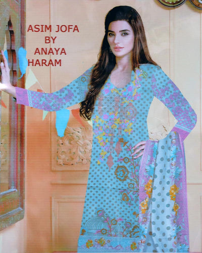 Asim Jofa Embroidered Lawn Suits With Net Dupatta By Anaya Haram Vol-4 - 3 Piece Suits - AH018 (Replica)(Unstitched)