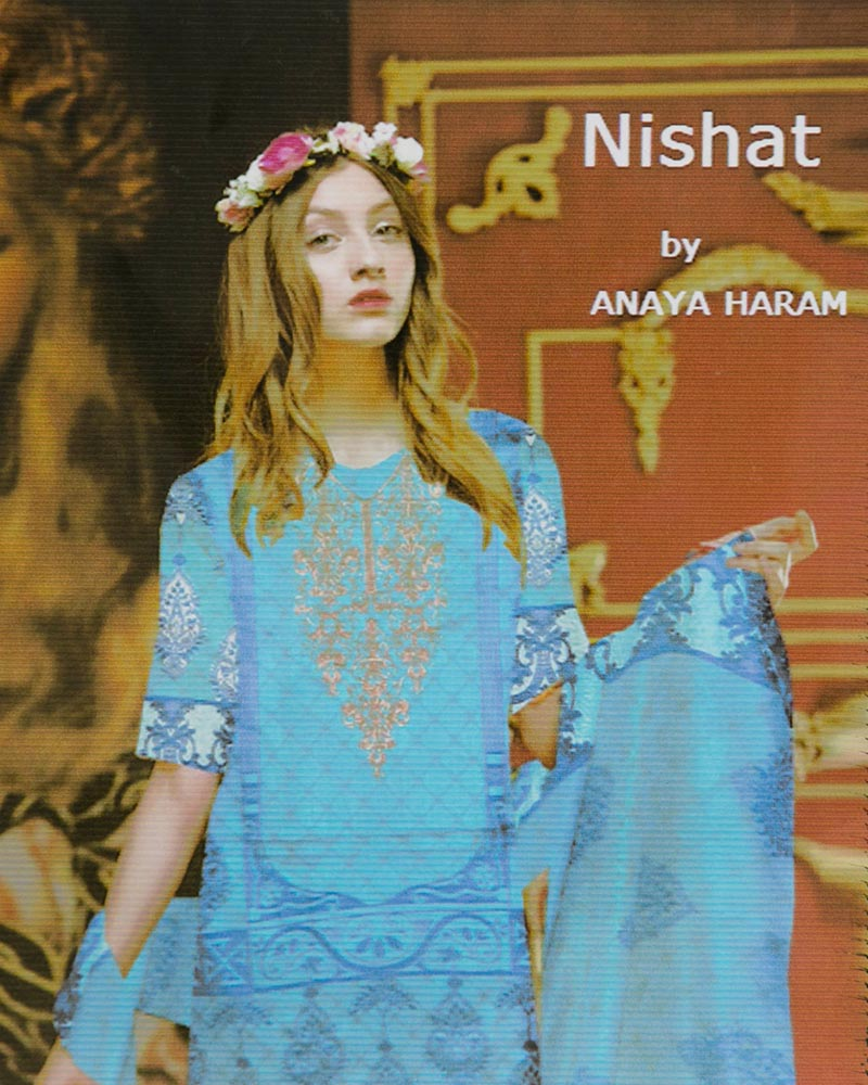 Nishat Embroidered Lawn Suits With Net Dupatta By Anaya Haram Vol-4 - 3 Piece Suits - AH017 (Replica)(Unstitched)